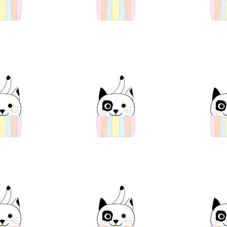 Seamless repetition of comical cat in pastel colors cupcake pattern; vector illustration Ilustração Vetorial