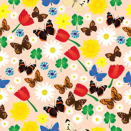 Seamless colorful pattern with butterflies and flowers; different species of butterflies and different flowers with clover leaves in seamless pattern vector illustration;