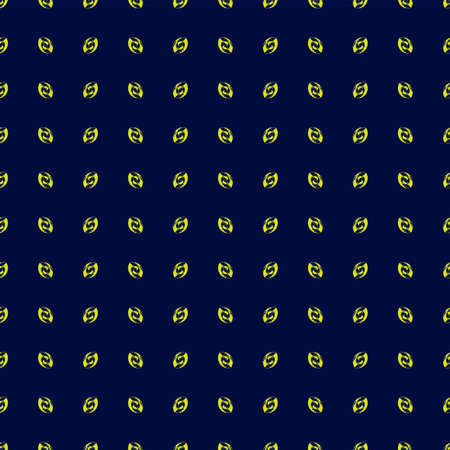 Repetition of yellow abstract nut shape on dark blue background seamless pattern vector eps 10 available for print on clothes