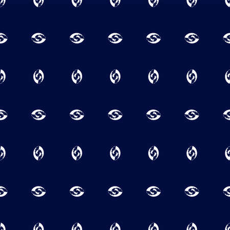 Repetition of white abstract nut shape vertical and horizontal arranged with blue ink background eps 10 available for print on clothes
