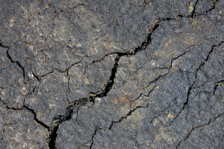 driveways: cracked pavement Stock Photo