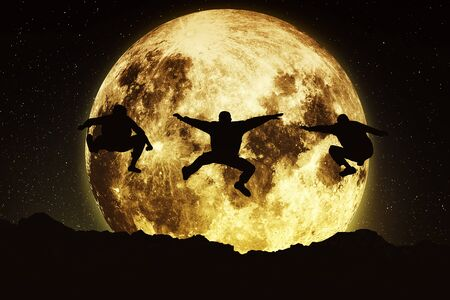 three friends: Three friends jumping on a moon background