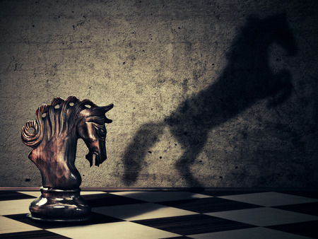 business change: Chess horse with it wild horse shadow on two legs