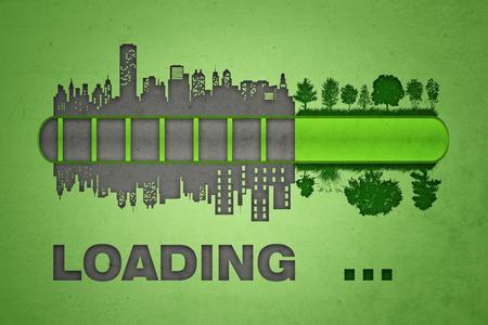 urbanization: Loading bar. Urbanization and pollution concept. Stock Photo