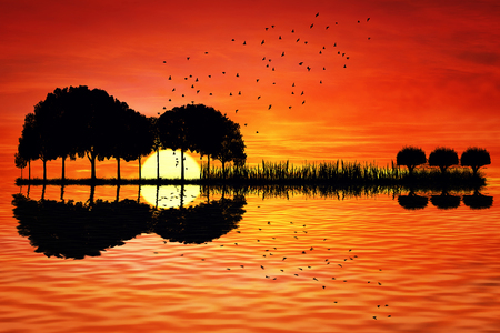 Trees arranged in a shape of a guitar on a sunset background. Music island with a guitar reflection in water