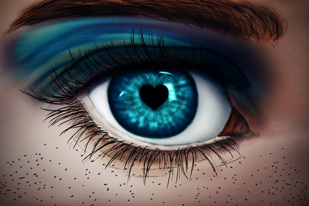 freckles: Illustration of a painted, blue woman eye with a heart-shaped pupil and birds instead of freckles