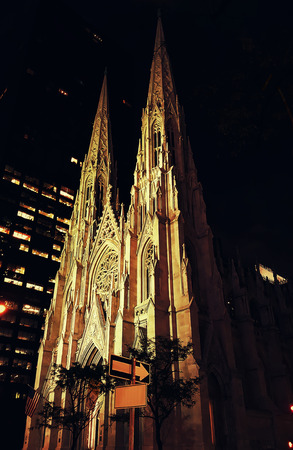 New York City Saint Patrick Cathedral on Manhattan 5th avenue at night Stock Photo
