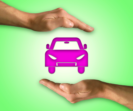 coverage: Two hands in position to protect a car. Insurance coverage, support, assurance, reliability concept