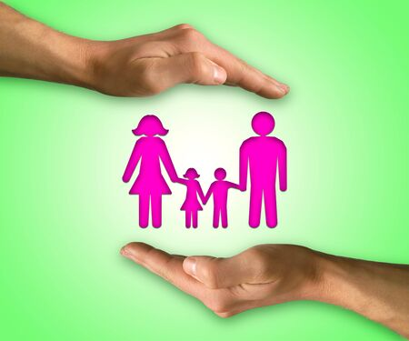 protect: Two hands in position to protect family. Family life insurance