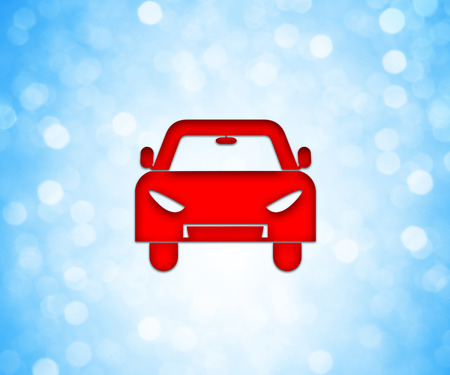 deportes caricatura: Red colored car icon over a blue bokeh background.