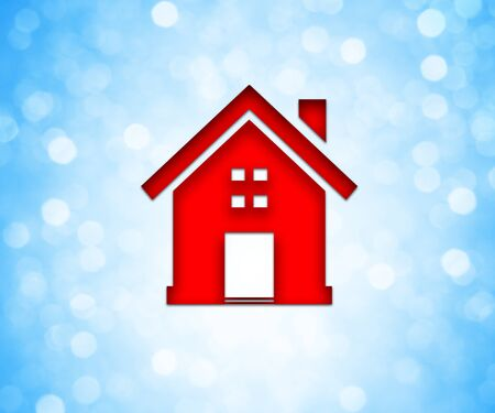 abode: Red colored house icon over a blue bokeh background. Home, family concept