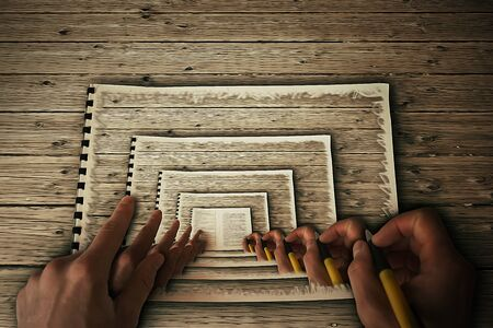 hypnose: Human hands drawing itself in a album on a wooden table. Create yourself, your future destiny, art illustration, career concept. Hypnotic, paralel reality