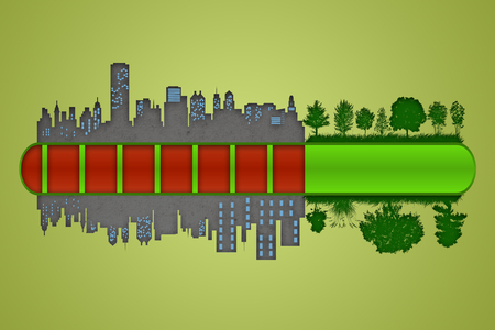 urbanization: Environment and ecology concept. Loading bar of city urbanization and pollution against green nature. Stock Photo