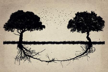 Dos árboles en frente de la otra con sus raíces crecer juntos. Trabajo en equipo y la colaboración de crecimiento. asociación fuerte y fundación como un concepto de negocio