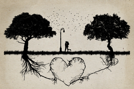 deep roots: Two trees in front of each other with underground roots growing together in shape of a heart and a couple hugging in the middle. Relationship love and togetherness concept