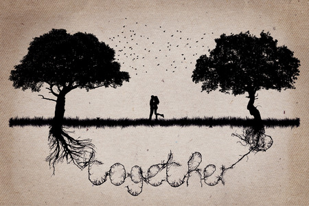 Two trees in front of each other with their roots growing  in shape of the word together and a couple hugging in the middle. Romantic scene. Relationship love and togetherness concept