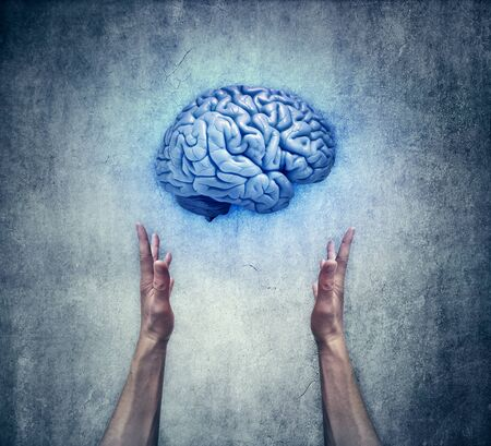 seer: Intellectual protection. Closeup of two human hands holding a blue brain. Save intelligence and mental health concept Stock Photo