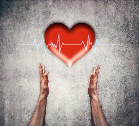 Primer De Dos Manos Humanas Sosteniendo Un Corazón Rojo Con La Línea ...