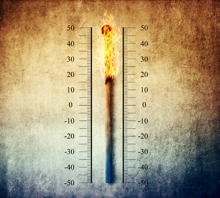 rising temperature: Burned match indicating temperature on a scale as a thermometer. Global warming and temperature rising concept Stock Photo