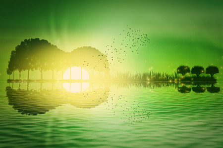accords: Trees and grass arranged in a shape of a guitar on a green tropical sunset background. Music island with a guitar reflection in water
