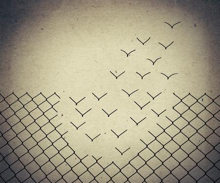 Metallic Drahtgeflecht verwandeln sich in fliegende Vögel. Altes Papier, Jahrgang Hintergrund