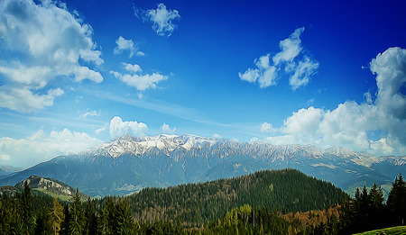 peaks: Beautiful illustration of spring mountains with snowy peaks and pine forest above a blue serene sky