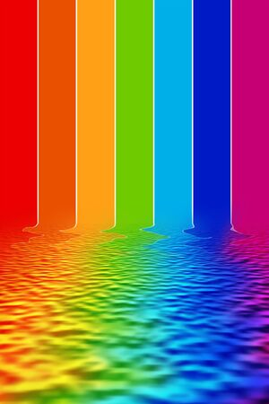 reflecting: Illustration spectrum colors reflecting on water