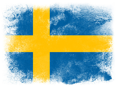 Powder paint exploding in colors of Sweden flag isolated on white background. Abstract particles explosion of colorful dust. Stock Photo