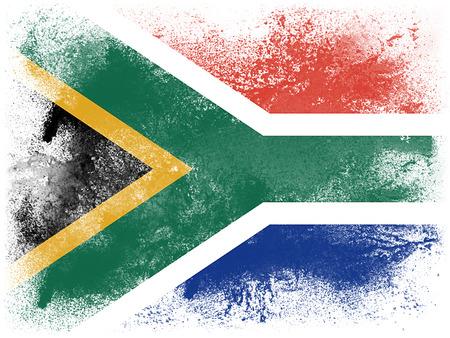 Peinture en poudre explose dans les couleurs de drapeau Afrique du Sud isolé sur fond blanc. particules Abstract explosion de poussière colorée.