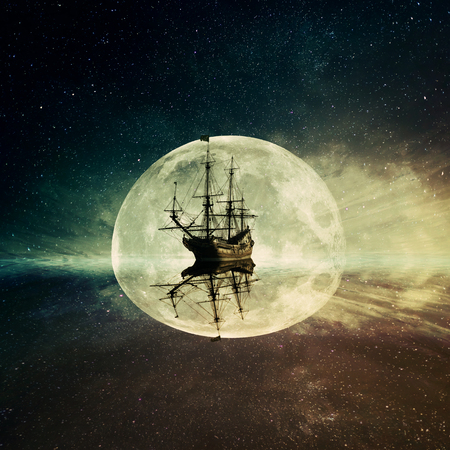old moon: Vintage, old ship floating in the ocean floating on a moonlight night starry sky background. Adventure and journey concept
