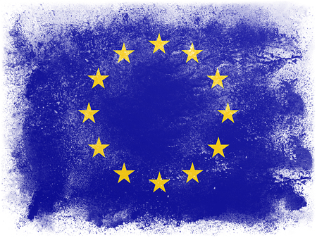 european community: Powder paint exploding in colors of European Community flag isolated on white background. Abstract particles explosion of colorful dust.