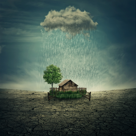failed plan: Farm oasis in the middle of a dry, cracked desert ground, below a rainy cloud. Luck symbol, environmental concept