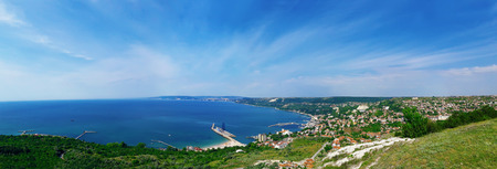 Beautiful panorama of the coast of the Black Sea in Balchik city, Bulgaria. Holiday journey, travel concept Stock Photo