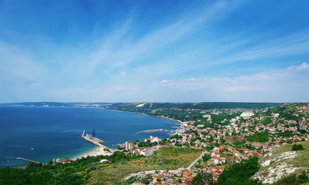 Beautiful view at the coast of the Black Sea in Balchik city, Bulgaria. Holiday journey, travel concept Foto de archivo