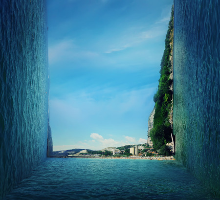 Summer three dimensional landscape of a coast of the sea. Vacation  journey concept