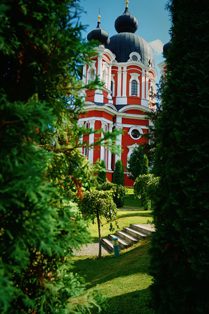 alley: Tall orthodox church with tree alley and green gardens below a blue sky