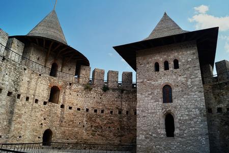 Ruined stone walls of an ancient military citadel. Historical landmark, medieval citadel in Soroca, Moldova