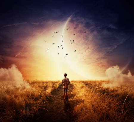 Boy walking on a cpathway with a relax mood, following a group of birds on the space horizon. Way of life concept