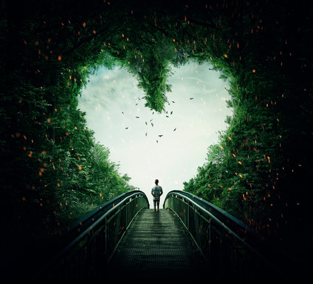 Boy walking on a bridge through the heart shape woods, following the light. Follow your heart concept
