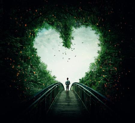 életmód: Boy séta a hídon keresztül a szív alakú erdőben, míg a világos. Kövesse a szíved koncepció Stock fotó