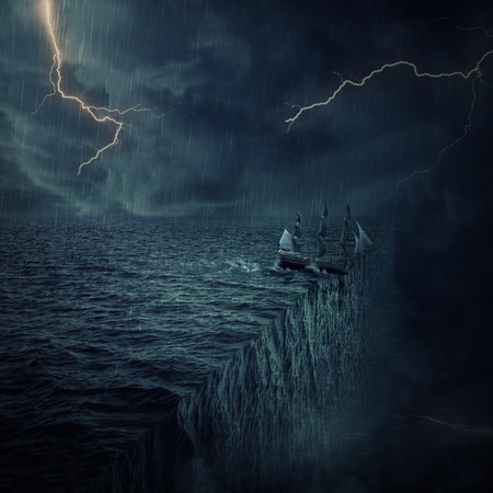 parallelism: Vintage, old ship sailing lost in the ocean in a stormy night with lightnings in the sky. Adventure and journey concept. Parallel universe, multiverse theory
