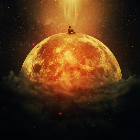 Young boy standing alone on a planet above the clouds 스톡 콘텐츠