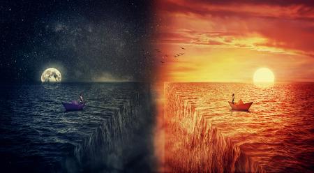 紙の船で、失われた人間として、二つの世界の概念図が衝突し、代替現実の別の世界で自分自身を見つけるしようとすると、海の真ん中にセーリン