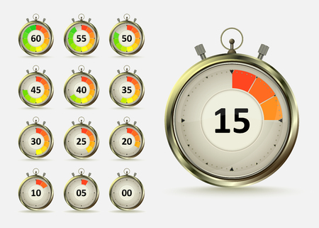 Golden digital timers countdown. Realistic chronometer with different times, vector illustration isolated on white background. Time management symbol.