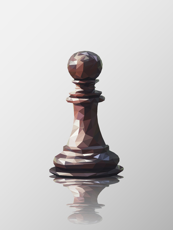 Low poly 3d design of pawn chess piece. Vector triangulation with reflection.