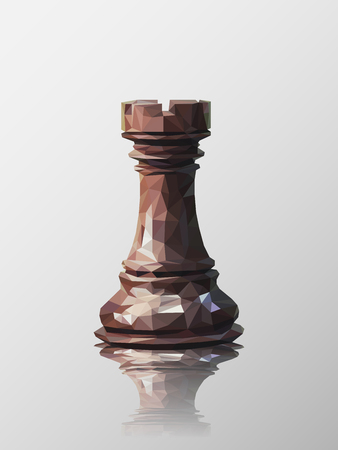 tactics: Low poly 3d design of rook chess piece. Vector triangulation with reflection.