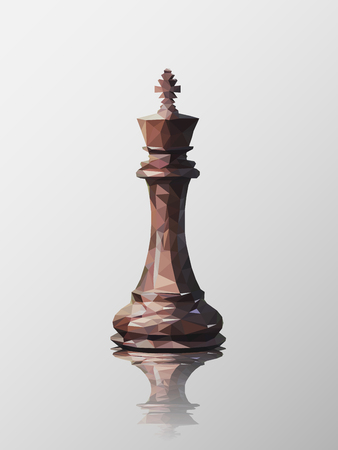 Low poly 3d design of king chess piece. Vector triangulation with reflection.