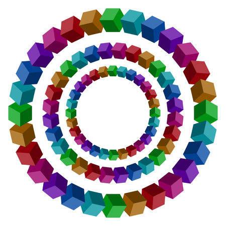 Circles constructed of a lot of colorful vector blocks. Isometric cubes for impossible 3d designing. Mathematical object with mental trick. Penrose optical illusion of brain.