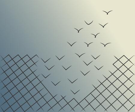 Des illustrations vectorielles d'une clôture en treillis métallique se transforment en oiseaux volant. Liberté, courage et concept de réussite. Vecteurs