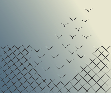 Vector illustrations of a wire mesh fence transforming into birds flying away. Freedom, courage and success concept.